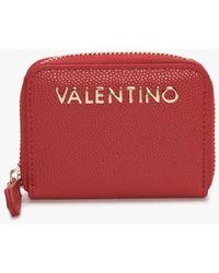Valentino Garavani Divina Red Pebbled Coin Purse