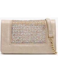 Daniel Pequetie Beige Suede Embellished Clutch Bag - Natural