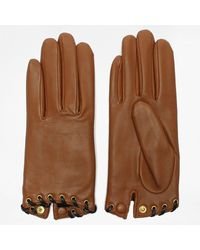 Agnelle Alixen Tan Leather Whip-stitched Short Gloves - Brown