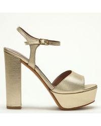Albano - Hawkes Gold Satin Platform Sandals - Lyst