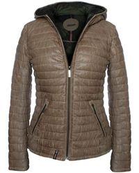 Oakwood Happy Beige Leather Hooded Jacket Ladies Clothing: S, - Natural