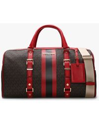 Michael Kors Large Bedford Travel Brown & Bright Red Logo Stripe Weekender Bag