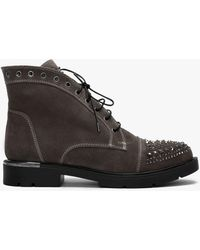 Daniel Footwear Ex Spence Taupe Suede Studded Ankle Boots - Multicolour