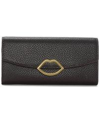Lulu Guinness - Lip Trisha Purple Grainy Leather Wallet - Lyst