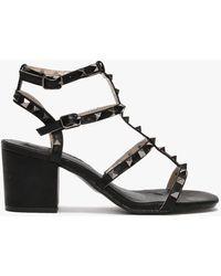Moda In Pelle Mima Black Studded Block Heel Sandals