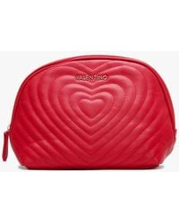Valentino By Mario Valentino Fiona Red Quilted Beauty Pouch