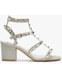 Moda In Pelle Mima Silver Studded Block Heel Sandals - Metallic