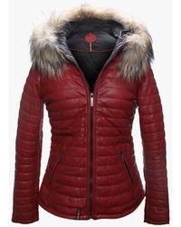 Oakwood Happy Red Leather Fur Trim Hooded Jacket