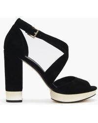 Michael Kors - Valerie Black Suede Platform Sandals - Lyst