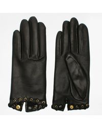 Agnelle Alixen Black Leather Whip-stitched Short Gloves