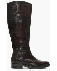 Daniel Footwear - Brown Leather Reptile Knee Boots - Lyst