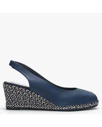 Carmen Saiz Navy Leather Metallic Woven Wedge Espadrille Sandals - Blue