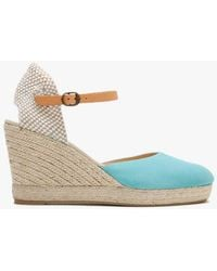 Carmen Saiz Blue Suede Closed Toe Wedge Espadrilles