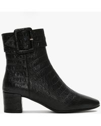 Lola Cruz Keefer Black Leather Moc Croc Ankle Boots