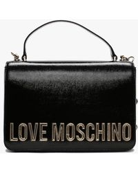 Love Moschino Chain Strap Black Patent Shoulder Bag