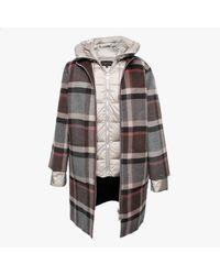 Oakwood Liliana Brown Checked Wool & Nylon Padded Longline Coat