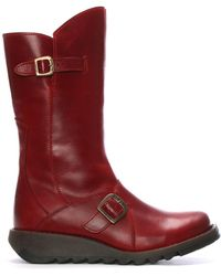 Fly London - Mes Red Leather Low Wedge Calf Boots - Lyst