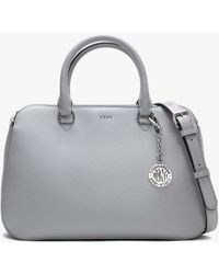 DKNY Bryant Gray Textured Leather Dome Satchel Bag