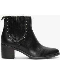 Manas Black Leather Studded Ankle Boots