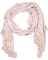 Daniel | Pink Cashmere Fur Pom Pom Trim Scarf | Lyst