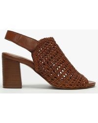 Daniel Zoina Tan Leather Woven Block Heel Sandals - Brown