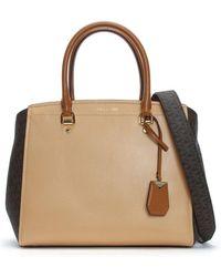 Michael Kors - Large Benning Brown & Acorn Leather Logo Satchel Bag - Lyst
