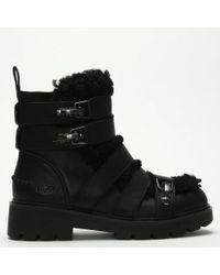 40aa615b0c6 UGG Chancey Black Leather Calf Biker Boots in Black - Lyst