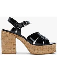 Daniel Joyce Black Patent Leather Platform Sandals