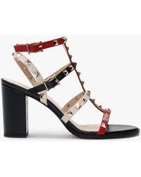 Daniel Pitter Multicoloured Leather Studded Block Heeled Sandals
