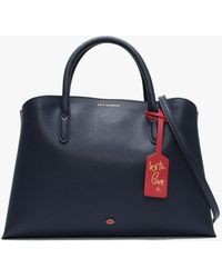Lulu Guinness - Emma Navy & Classic Red Grainy Leather Work Bag - Lyst