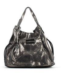 Daniel Slouchy Navy Metallic Stitched Shoulder Bag - Black