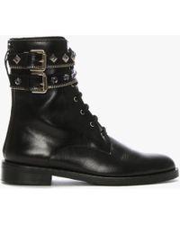 Daniel Whitfield Black Leather Jewel Embellished Biker Boots