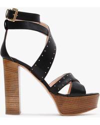 Daniel Adia Black Suede Studded Platform Sandals