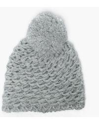 48c41aac734493 UGG - Women's Yarn Light Grey Pom Pom Beanie Hat - Lyst