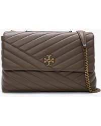 Tory Burch Kira Chevron Classic Taupe Leather Shoulder Bag - Brown