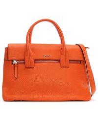 DKNY Tribeca Soft Tumbled Orange Leather Grab Bag
