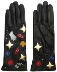 Agnelle Patch Motif Black Leather Gloves