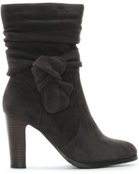 Moda In Pelle Peretta Gray Suede Knotted Bow Calf Boots