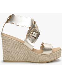 Daniel Ined Gold Leather Wedge Sandals - Metallic