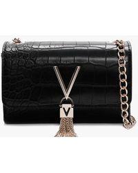 Valentino By Mario Valentino Audrey Moc Croc Black Shoulder Bag