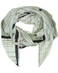 Daniel - Stripe Khaki Silk Scarf - Lyst
