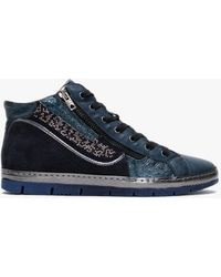 Khrio Navy Leather & Suede Embellished High Top Sneakers - Blue