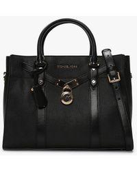Michael Kors Large Hamilton Nouveau Black Pebbled Leather Satchel Bag