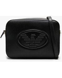 Emporio Armani Raised Eagle Black Pebbled Camera Bag