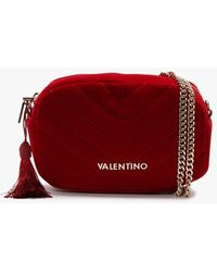 Valentino By Mario Valentino Carillon Red Velvet Quilted Belt Bag