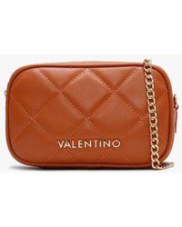 Valentino By Mario Valentino Ocarina Orange Quilted Chain Strap Belt Bag