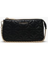 dbf060d070dd Michael Kors - Black Leather Floral Quilted Pouchette - Lyst
