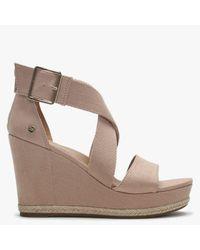 UGG Calla Arroyo Textile Cross Strap Wedge Sandals - Multicolor