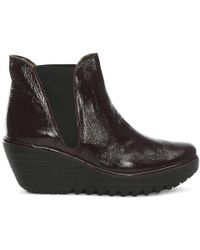 Fly London - Woss Purple Patent Leather Mid Wedge Ankle Boots - Lyst