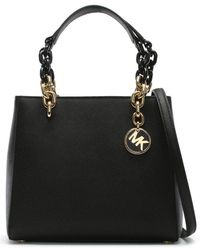 Michael Kors - Small Cynthia North South Black Leather Satchel Bag - Lyst